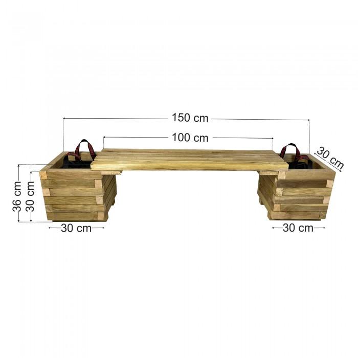 Παγκάκι γλάστρες σετ 150x30x36cm