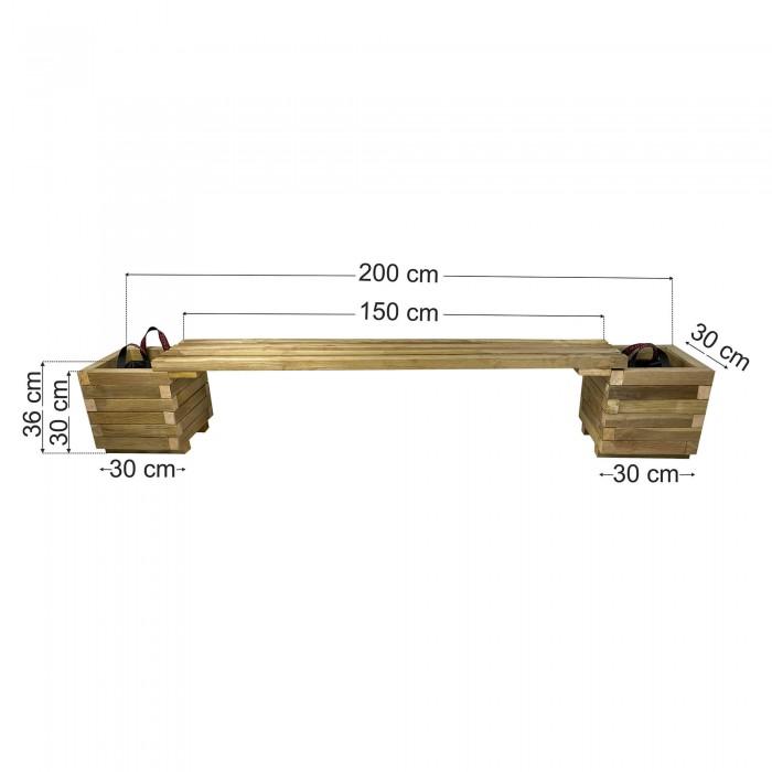 Παγκάκι γλάστρες σετ 200x30x36cm