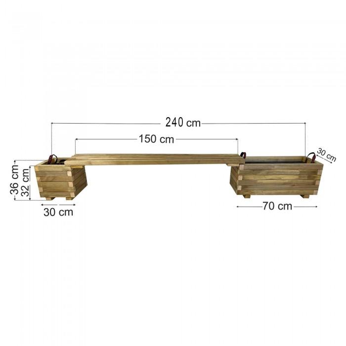 Παγκάκι γλάστρες σετ 240x30x36cm