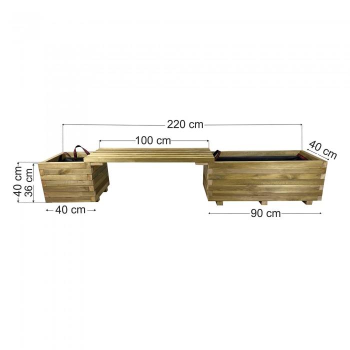 Παγκάκι γλάστρες σετ 220x40x40cm
