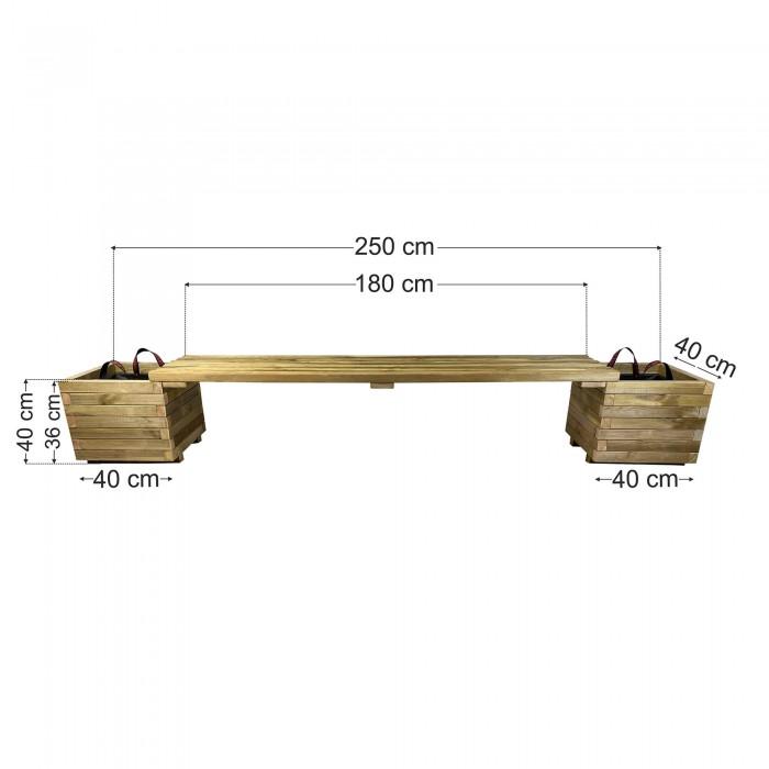 Παγκάκι γλάστρες σετ 250x40x40cm