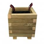 ΤΕΤΡΑΓΩΝΗ ξύλινη γλάστρα - 30x30x32