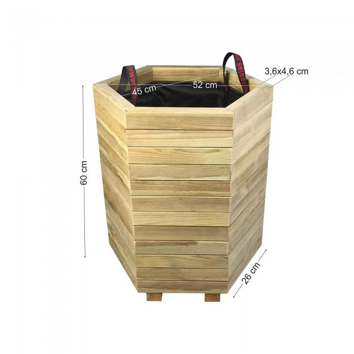 Γλάστρα εισόδου εξάγωνη - κλειστές γωνίες - Δ52x45x60