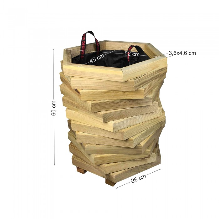 Γλάστρα εισόδου εξάγωνη στριφτή - 52x45x60
