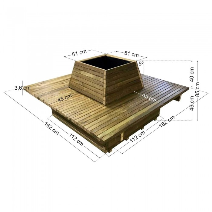 Παγκάκι Γλάστρα 12 ατόμων τετράγωνη - Δ162x85
