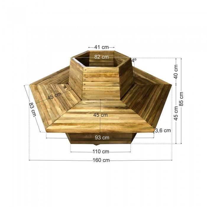 Παγκάκι Γλάστρα 2 ατόμων εξάγωνη - Δ160x85