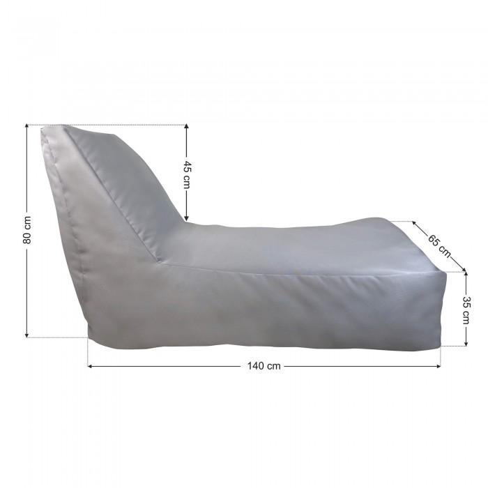 Πουφ Ξαπλώστρα Γκρί καραβόπανο <br> 140x65x80cm