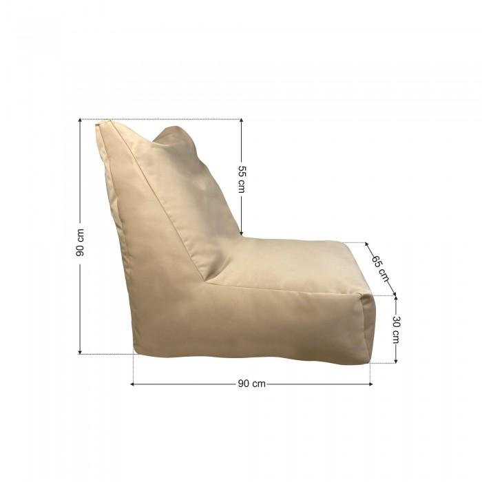 Πουφ Πολυθρόνα Μπεζ καραβόπανο <br> 90x65x90cm
