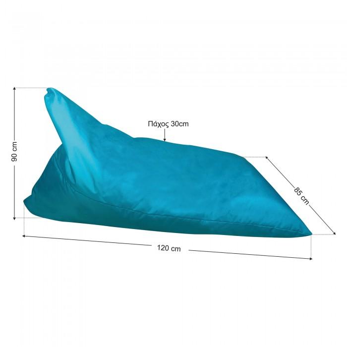 Πουφ πολυμορφικό Τυρκουάζ ύφασμα<br> 120x85x90cm