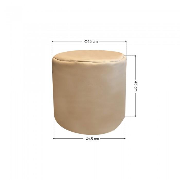 Πουφ σκαμπό Ζαχαρι Δερματίνη <br> Φ45x45cm
