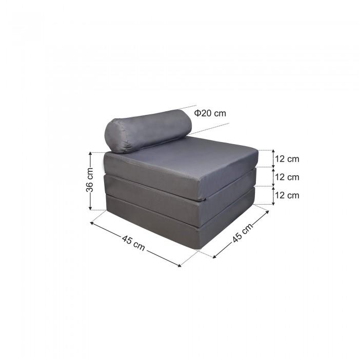 Πουφ τρίσπαστο Σκαμπο-Ξαπλώστρα Γκρί υφασμάτινο <br> 190x60x12cm