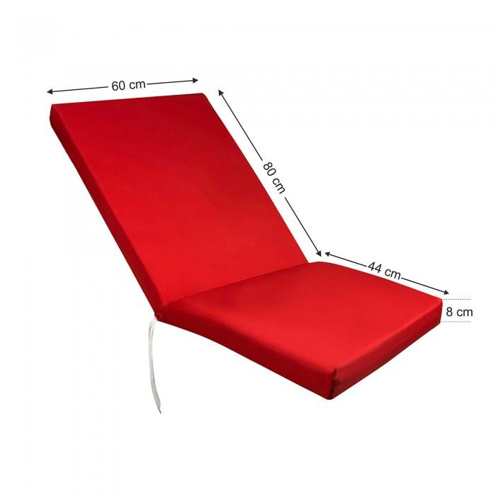 Στρώμα sezlong παραλίας 8cm κόκκινο