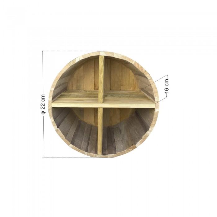 Ράφια από βαρέλι με 4 χωρίσματα - 22x16cm