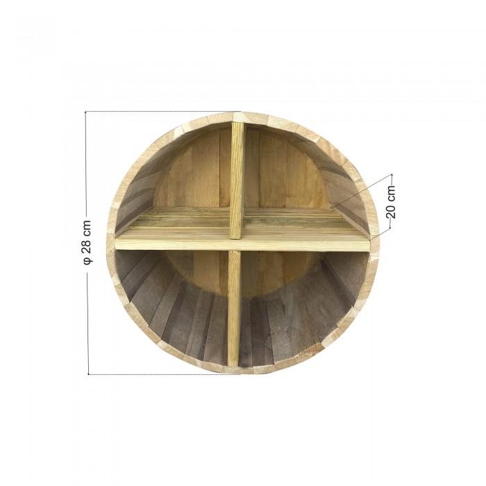 Ράφια από βαρέλι με 4 χωρίσματα - 28x20cm