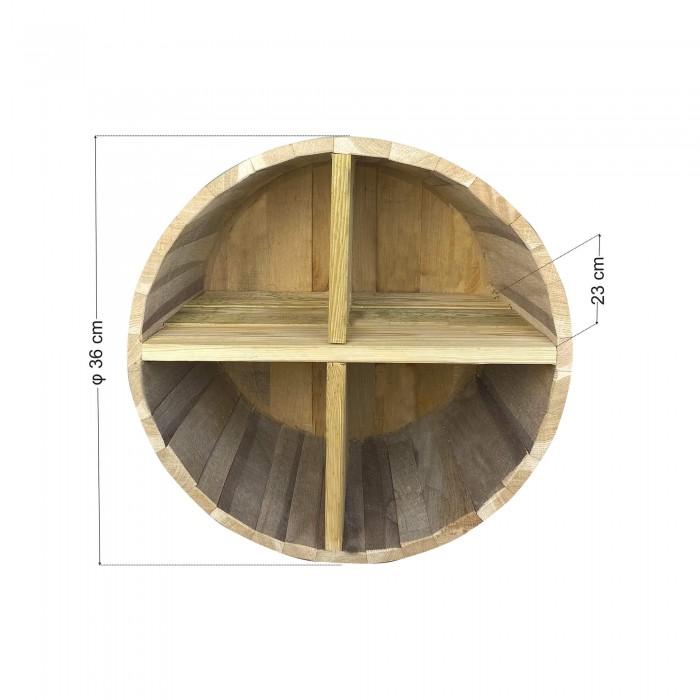Ράφια από βαρέλι με 4 χωρίσματα - 36x23cm
