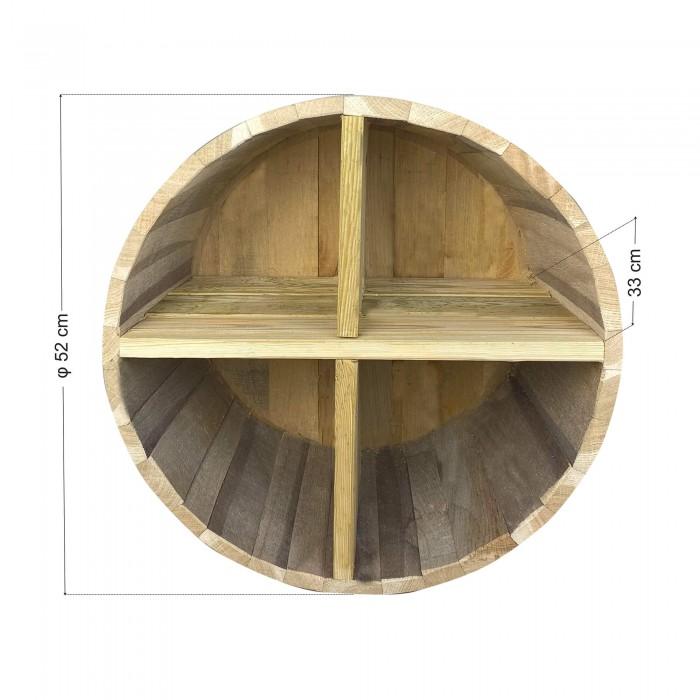 Ράφια από βαρέλι με 4 χωρίσματα - 52x33cm