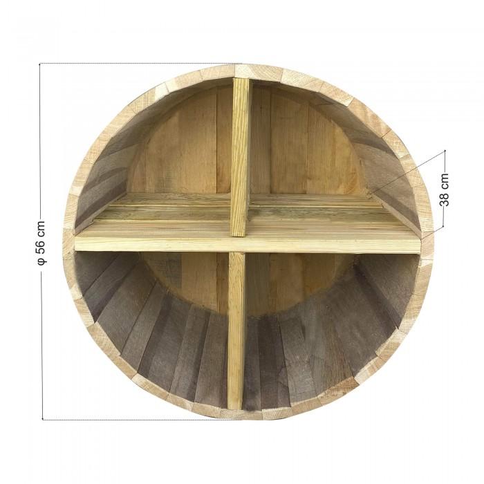 Ράφια από βαρέλι με 4 χωρίσματα - 56x38cm