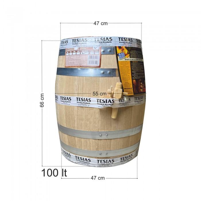 Βαρέλι κρασιού τσίπουρου ξύλινο - δρύινο- 100lt