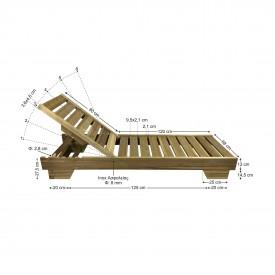 Ξύλινη ξαπλώστρα παραλίας επαγγελματική - 1205 - TESIAS - 200x68x32cm