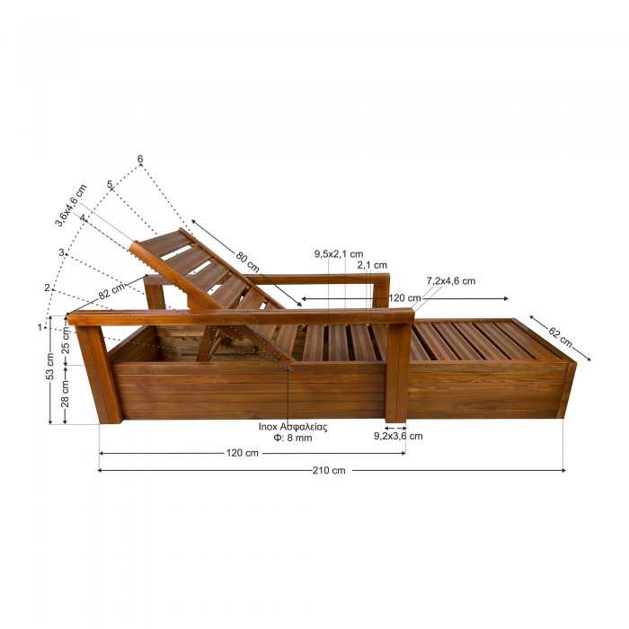 Ξύλινη ξαπλώστρα παραλίας επαγγελματική - 1305 - TESIAS