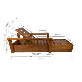 Ξύλινη ξαπλώστρα παραλίας επαγγελματική - 1306 LUX - TESIAS