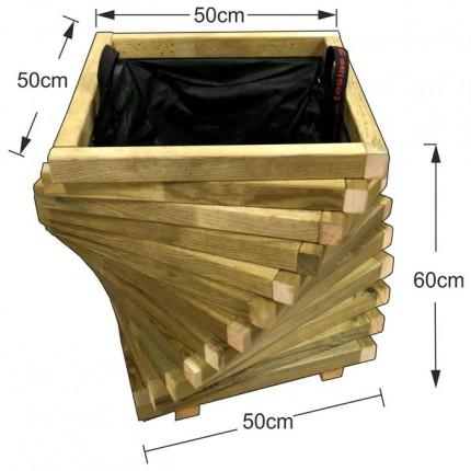 Γλάστρα εισόδου τετράγωνη στριφτή - 50x50x60