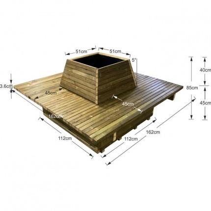 Γλάστρα παγκάκι 12 ατόμων τετράγωνη - Δ162x85