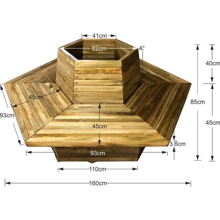 Γλάστρα παγκάκι 12 ατόμων εξάγωνη - Δ160x85
