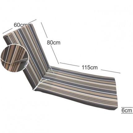 Στρώμα ξαπλώστρας 6cm ριγέ γκρι
