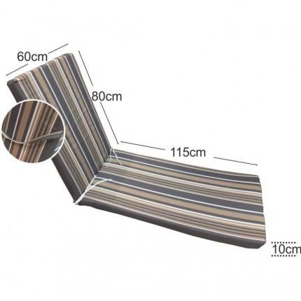 Στρώμα ξαπλώστρας 10cm ριγέ γκρι