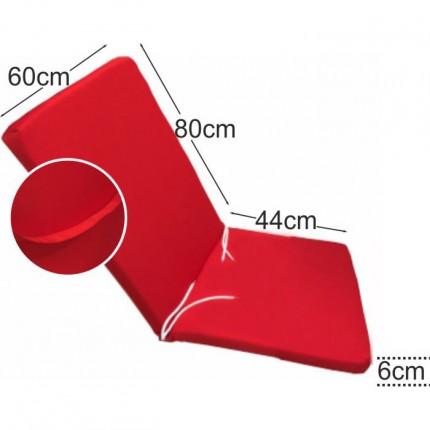 Στρώμα καρέκλας παραλίας 6cm κόκκινο