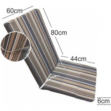 Στρώμα καρέκλας παραλίας 6cm ριγέ γκρι