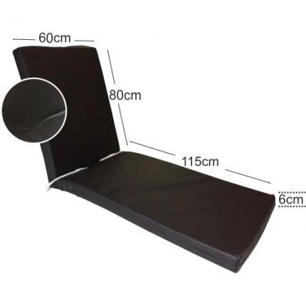 Στρώμα ξαπλώστρας 6cm δερματίνη - σκούρο καρυδί