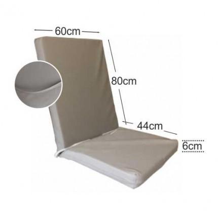 Στρώμα καρέκλας 6cm δερματίνη - γκρι ελεφαντί