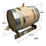 Βαρέλι κρασιού - τσίπουρου ξύλινο - δρύινο - 30lt